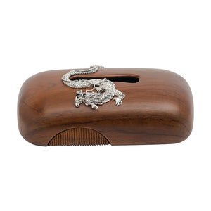 Tissue Box with Silver Dragon