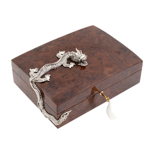 Cigar Box Humidor with Silver Dragon