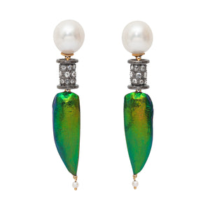 Earring Pearl Scarab Diamond Spacer