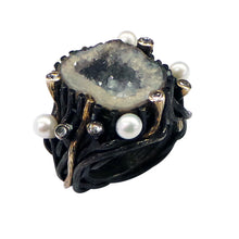 Load image into Gallery viewer, Crystal Agate Ring with Pearl Diamond