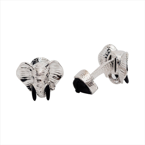 Elephant Cufflinks with Black Wood & Diamond