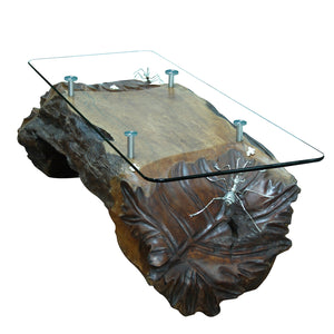 Lychee Wod Leaf Table with Ant and Frog