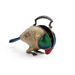 Parrot Handbag with White Gold Flower Textile