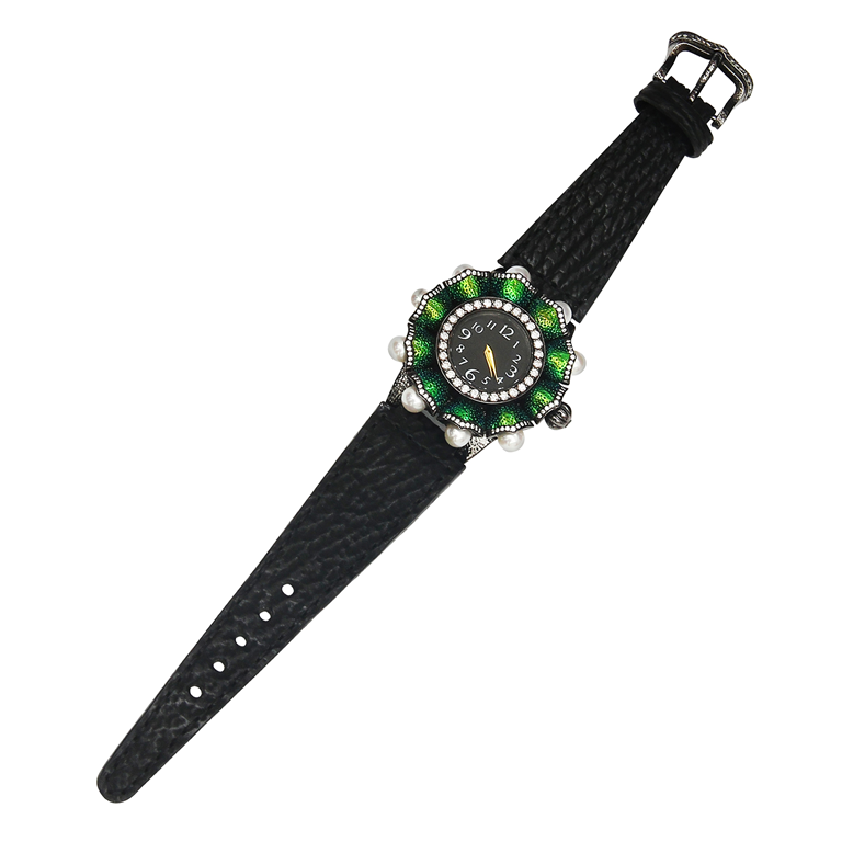 Scarab Watch with Diamonds, Black Agate