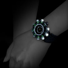 Load image into Gallery viewer, Scarab Watch with Diamonds, Black Agate