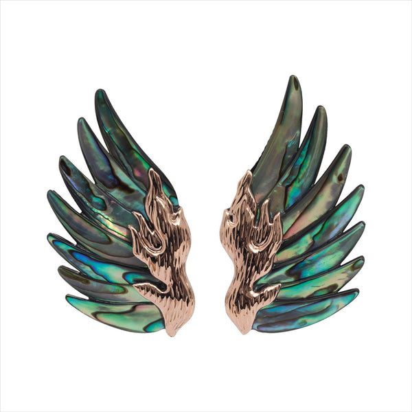 Abalone Shell Wing Earrings with 9K pink gold