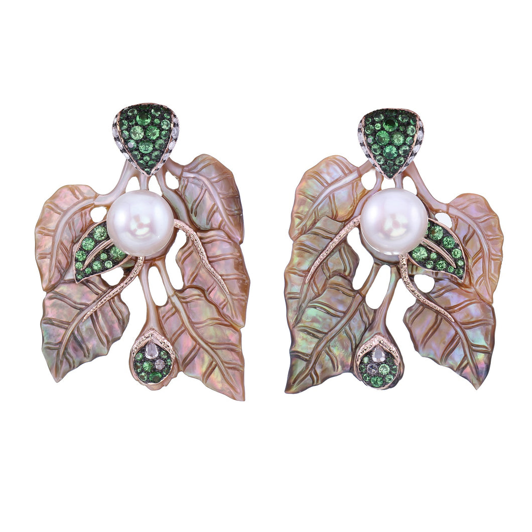 Carved Shell Earrings with Diamonds, Tsavorites & Pearls