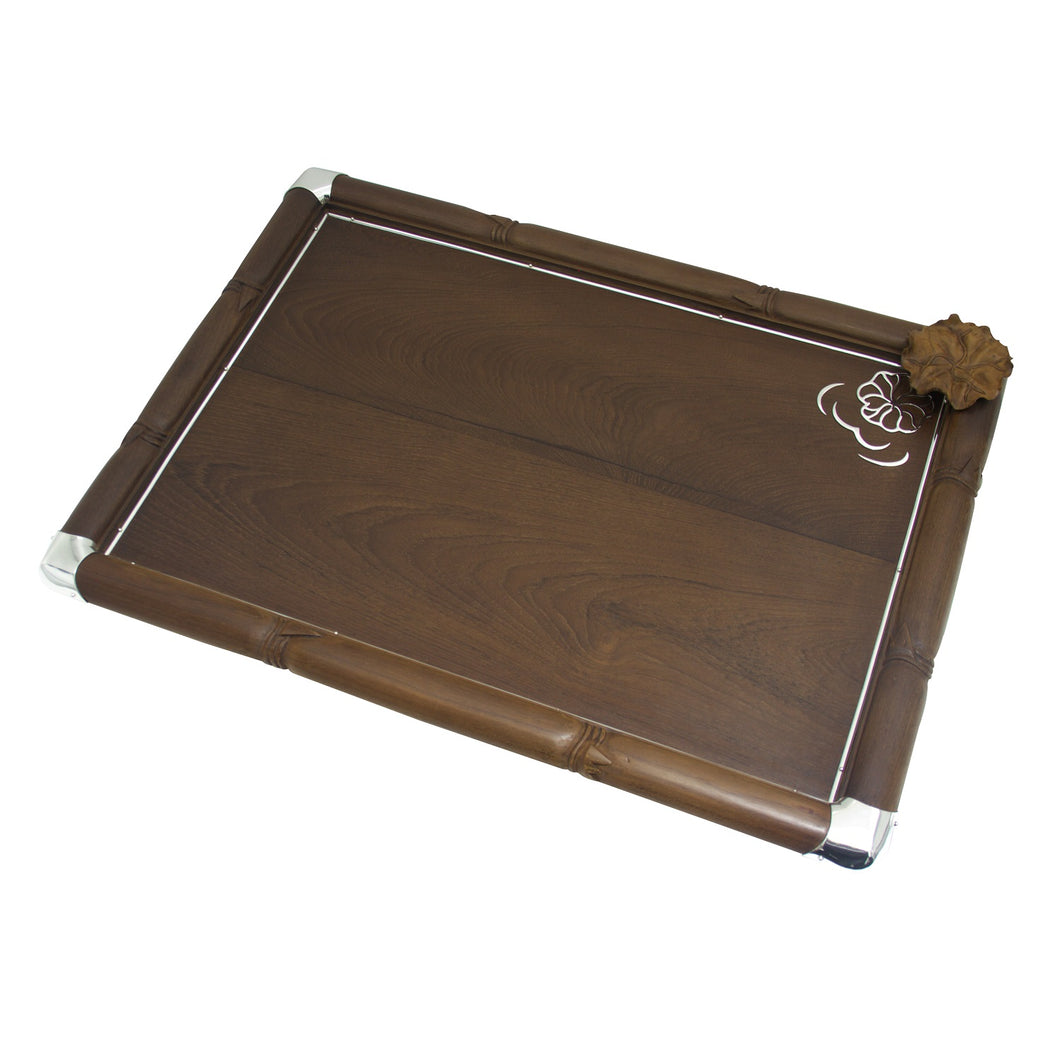 Wooden Tray Decorated with Silver and Wooden Leaf