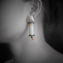 Load image into Gallery viewer, Jade Earrings with Carved MOP Happy Monk, Citrine