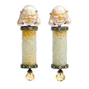 Jade Earrings with Carved MOP Happy Monk, Citrine