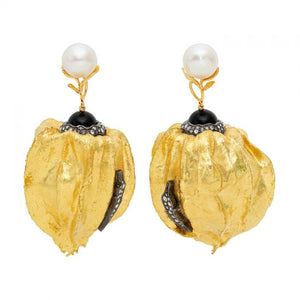 Cape Gooseberry Earrings with Pearl & Diamond