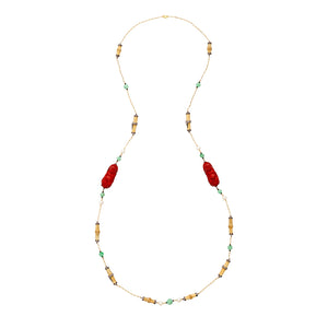 Red Lacquer Happy Monk Necklace