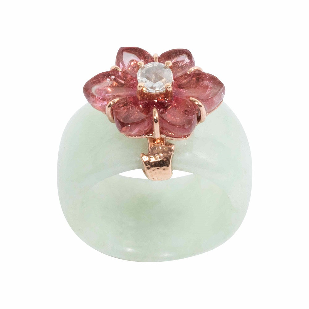 Jade Ring with Pink Tormaine and Diamond