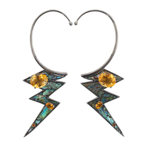 Lightning Earring with Abalone Shell & Citrine