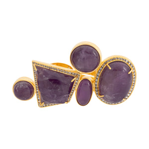 Amethyst, Ring with Diamond, Silver Gold Plated