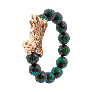 Mala Beads Bracelet with Scarab Inlay - Dragon