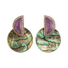 Load image into Gallery viewer, Earrings with Abalone Shell, Amethys & Diamond