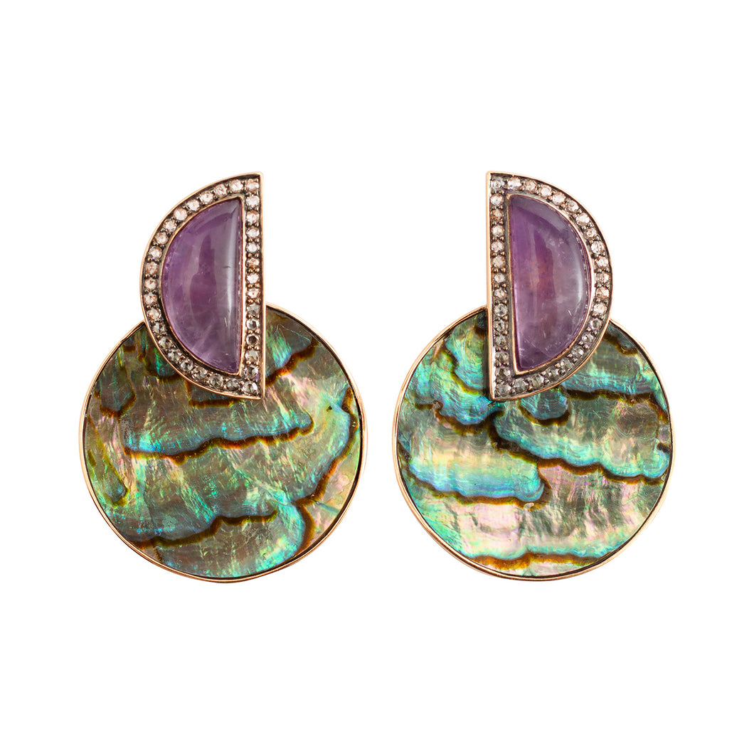 Earrings with Abalone Shell, Amethys & Diamond
