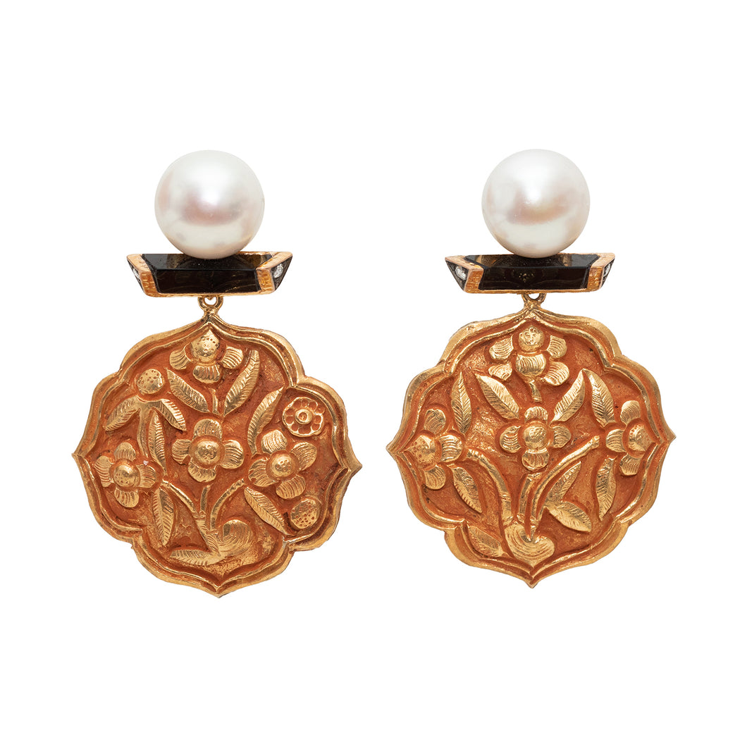 Silver Gold Buckle Flower Earrings with Pearl