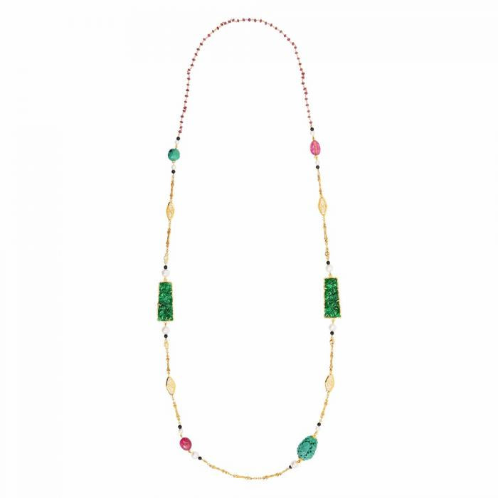 Necklace with Jade, Pink Tourmaline, Turquoise, Pearl & Diamond