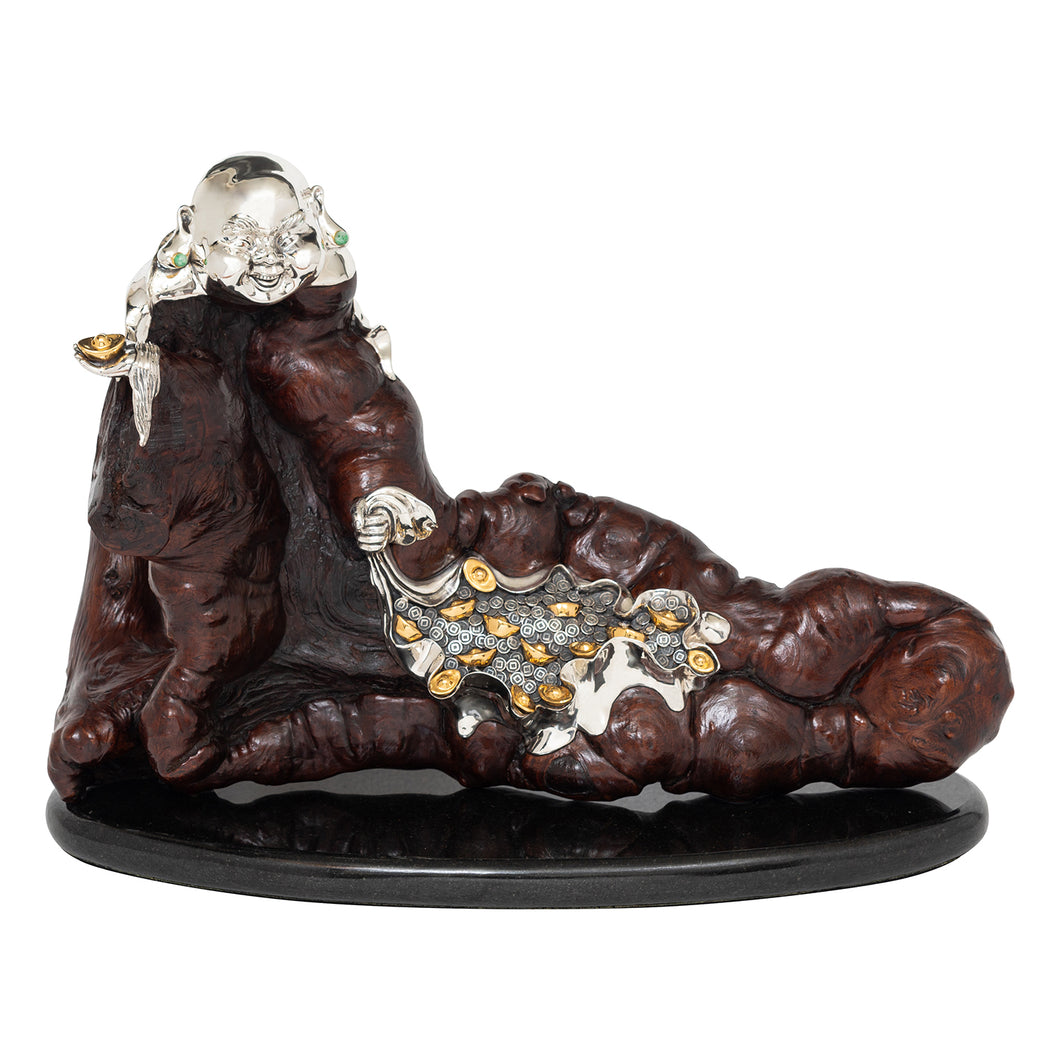 Burl Wood Happy Monk Sculpture with Ingot and Coins