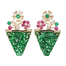 Load image into Gallery viewer, Jade Earrings with Ruby and Diamonds