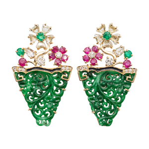 Jade Earrings with Ruby and Diamonds
