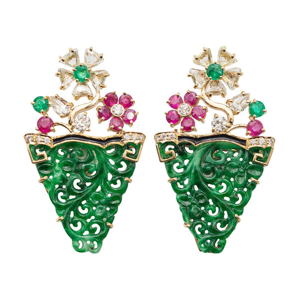 Jade Earrings with Ruby and Diamond
