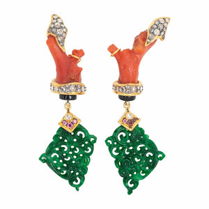 Jade Earring with Red Stone, Diamond and Pink Tourmaline