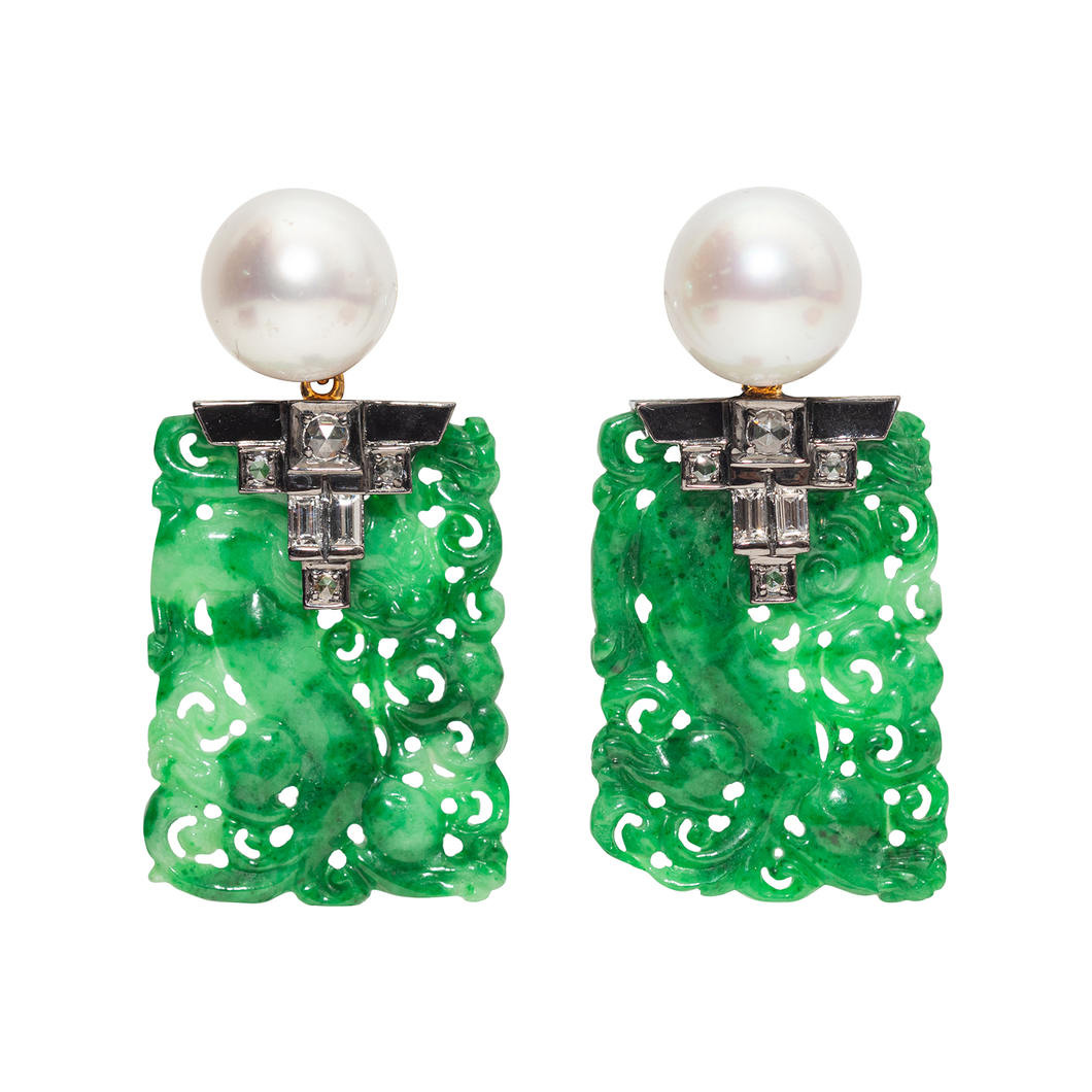 Jade Earrings with Pearl and Diamond