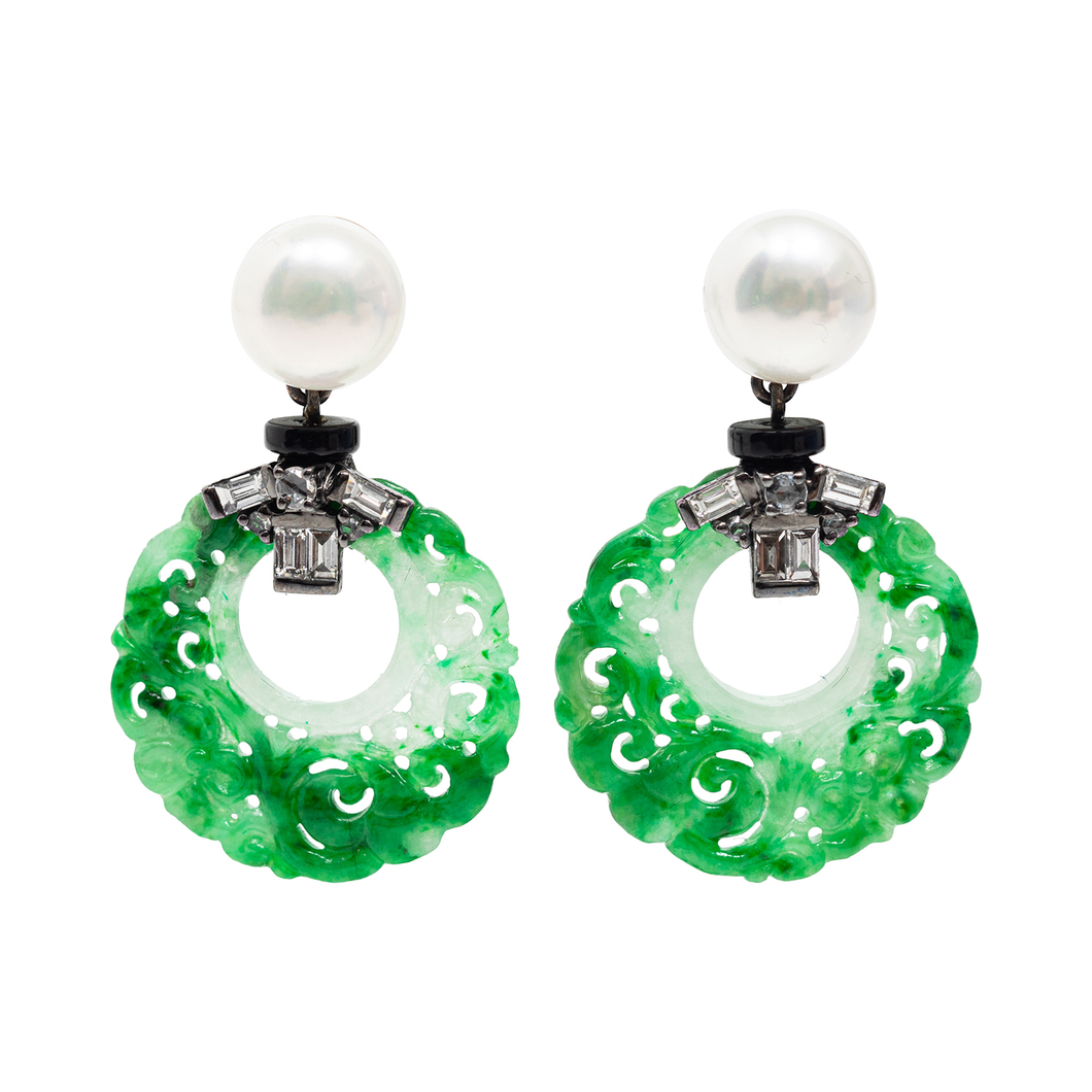 Jade Earrings with Pearl, Diamond