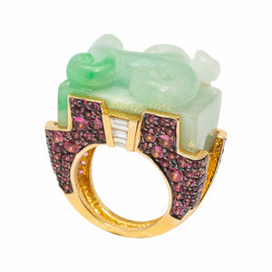 Jade Ring with Pink Tourmaline and Diamond