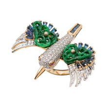 Load image into Gallery viewer, Bird Ring with Diamond, Sapphire & Carved Jade