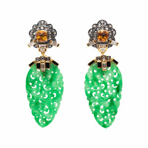 Jade Earrings with Citrine and Diamond