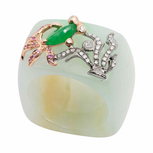 Jade Ring with Fish and Water Weeds