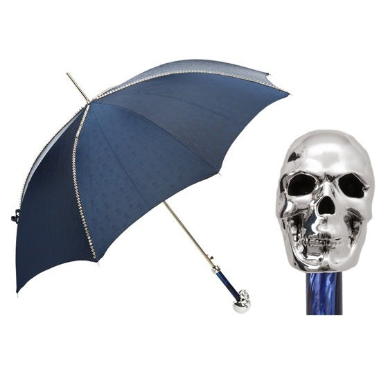 Navy Umbrella with Studs and Silver Skull Handle