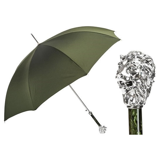 Green Umbrella with Silver Lion Handle