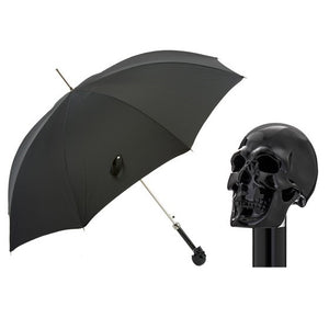 Black Umbrella with Black Skull Handle
