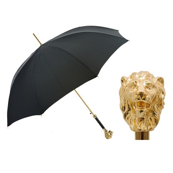 Black Umbrella with Gold Lion Handle