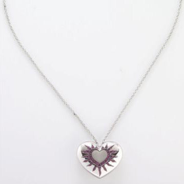 Pendant 18 Kt white gold set with Pink Sapphires