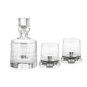 Coffret Set Graphik Whisky Decanter , 2 Goblets & Coasters