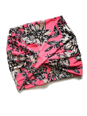 Neon Pink Floral wide headband - All Bout Boobies
