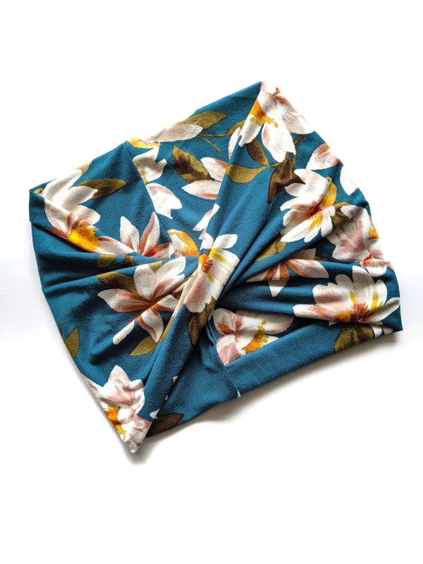 Teal Floral wide headband - All Bout Boobies