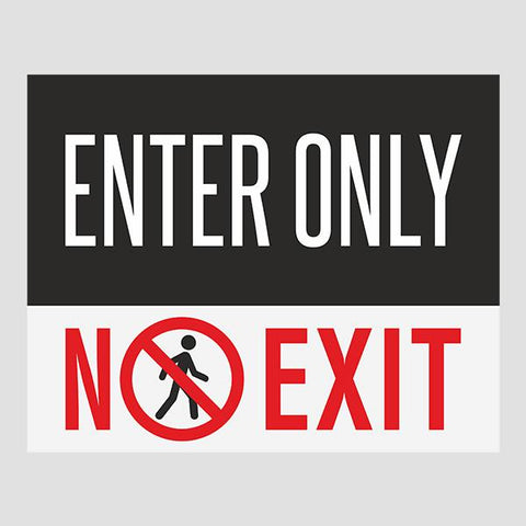 Entry Only Door Sticker
