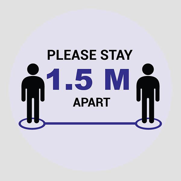Stay 1.5M Apart Stickers (Pack of 6 Stickers)