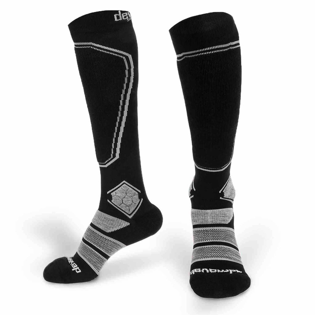 Merino Wool Ski Socks & Snowboard Socks (Black & Grey)