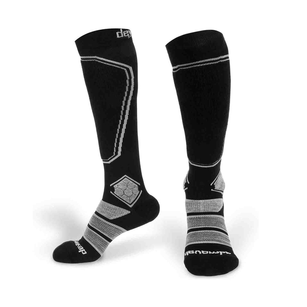 Merino Wool Ski Socks & Snowboard Socks for Kids (Black & Grey)