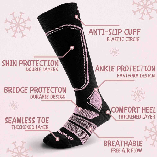 Merino Wool Ski Socks & Snowboard Socks for Kids (Black & Pink)