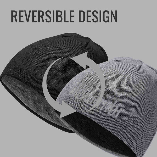 Reversible Beanie Hat (Black and Grey, Short Brim)