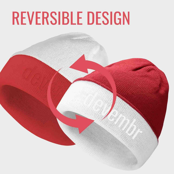 Reversible Beanie Hat (Red and White, Long Brim)